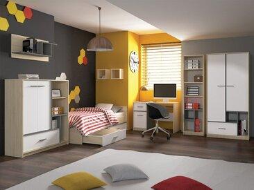 Jugendzimmer Komplett - Set A Jurupa, 8-teilig, Farbe: Buche / Weiß / Platingrau