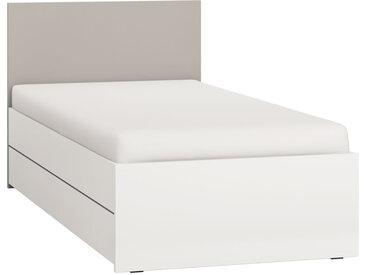 Einzelbett, Farbe: Weiß / Grau - Liegefläche: 90 x 200 cm (B x L)