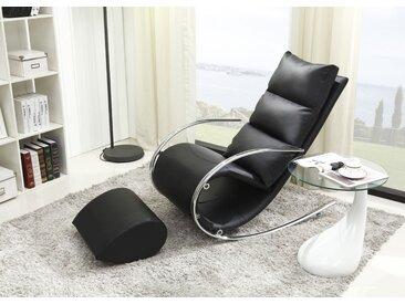Schaukelstuhl mit Hocker Luanda 29, Farbe: Schwarz - Abmessungen: 111 x 67 x 102 cm (H x B x T)
