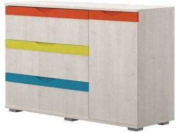 Kinderzimmer - Kommode Peter 03, Farbe: Kiefer Weiß / Orange / Gelb / Türkis - Abmessungen: 84 x 126 x 44 cm (H x B x T)