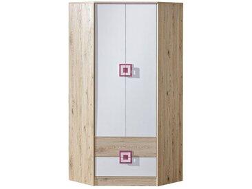 Kinderzimmer - Drehtürenschrank / Eckkleiderschrank Fabian 02, Farbe: Eiche Hellbraun / Weiß / Rosa - 190 x 87 x 87 cm (H x B x T)