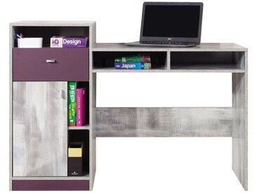 Jugendzimmer - Schreibtisch Marin 09, Lila / Weißgrau - Abmessungen: 92 x 130 x 55 cm (H x B x T)