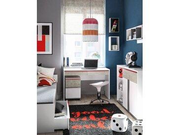 Jugendzimmer Komplett - Set H Connell, 7-teilig, Farbe: Weiß / Anthrazit / Hellgrau
