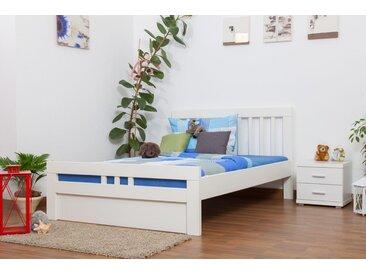 Jugendbett Easy Premium Line K8 inkl.1 Abdeckblende, 140 x 200 cm Buche Vollholz massiv weiß lackiert