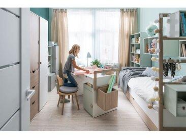 Jugendzimmer Komplett - Set B Skalle, 10-teilig, Farbe: Braun / Weiß / Grau / Pistaziengrün
