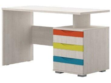 Kinderzimmer - Schreibtisch Peter 04, Farbe: Kiefer Weiß / Orange / Gelb / Türkis - Abmessungen: 75 x 125 x 60 cm (H x B x T)