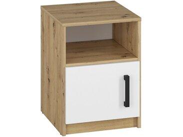 Jugendzimmer - Nachtkästchen Sallingsund 11, Farbe: Eiche / Weiß - Abmessungen: 55 x 40 x 40 cm (H x B x T), mit 1 Tür und 2 Fächern