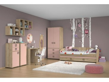 Kinderzimmer Komplett - Set T Benjamin, 8-teilig, Farbe: Buche / Rosa