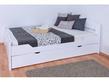 Einzelbett / Gästebett Easy Premium Line K5, inkl. 2 Schubladen und 1 Abdeckblende, 140 x 200 cm Buche Vollholz massiv weiß lackiert, inkl. Lattenrost