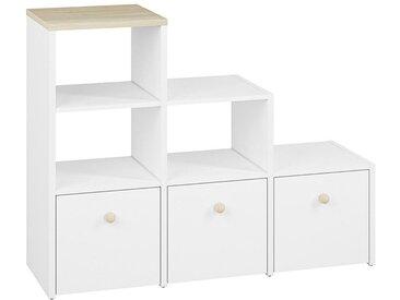 Kinderzimmer - Regal Egvad 12, Farbe: Weiß / Buche - Abmessungen: 95 x 122 x 40 cm (H x B x T), mit 3 Schubladen und 3 Fächern