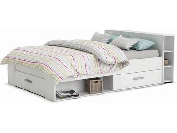 Jugendbett Damboa 01, Farbe: Weiß - Liegefläche: 140 x 200 cm (B x L)