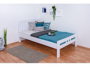 Einzelbett / Gästebett Easy Premium Line K8, 120 x 200 cm Buche Vollholz massiv weiß lackiert