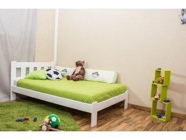 Kinderbett / Jugendbett Kiefer Vollholz massiv weiß lackiert A21, inkl. Lattenrost - Abmessung 120 x 200 cm