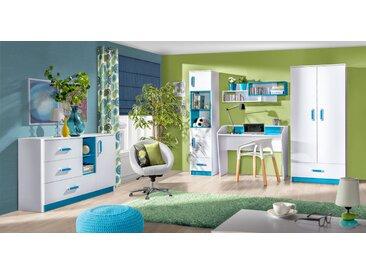 Kinderzimmer Set D Frank, 5-teilig, Farbe: Weiß / Blau