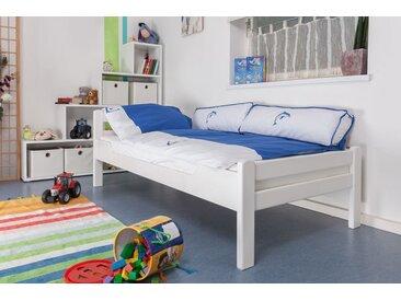 Kinderbett / Jugendbett Easy Premium Line K1/2n, Buche Vollholz massiv weiß lackiert - Maße: 90 x 200 cm