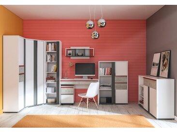 Jugendzimmer Set E Connell, 8-teilig, Farbe: Weiß / Anthrazit / Hellgrau
