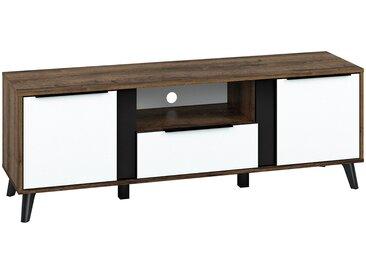 TV-Unterschrank Kouvola 08, Farbe: Eiche dunkel / Weiß Glanz / Schwarz - Abmessungen: 53 x 153 x 40 cm (H x B x T), mit 2 Türen, 1 Schublade und 3 Fächern