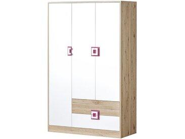 Kinderzimmer - Drehtürenschrank / Kleiderschrank Fabian 03, Farbe: Eiche Hellbraun / Weiß / Rosa - 190 x 120 x 50 cm (H x B x T)