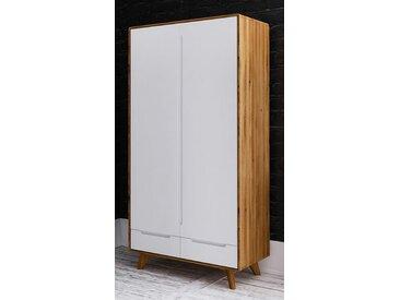 Drehtürenschrank / Kleiderschrank Timaru 19 Wildeiche geölt / Weiß, teilmassiv - Abmessungen: 180 x 90 x 45 cm (H x B x T)