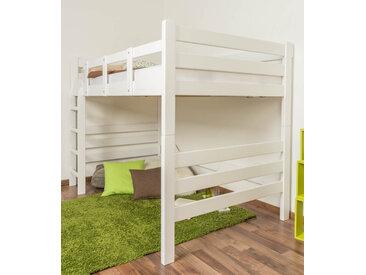 Hochbett für Erwachsene Easy Premium Line K15/n, Buche Vollholz massiv weiß lackiert, teilbar - Liegefläche: 120 x 200 cm