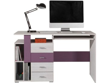 Jugendzimmer - Schreibtisch Emilian 13, Kiefer gebleicht / Lila - Abmessungen: 76,50 x 125 x 55 cm (H x B x T)