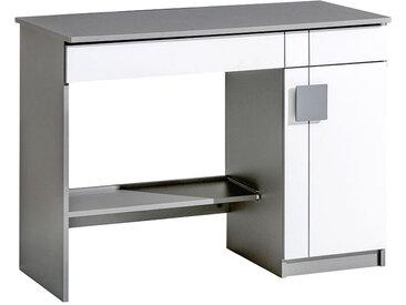 Jugendzimmer - Schreibtisch Elias 06, Farbe: Weiß / Grau - Abmessungen: 79 x 110 x 55 cm (H x B x T)