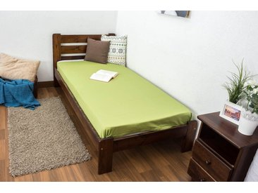 Einzelbett / Gästebett Kiefer Vollholz massiv Nussfarben A27, inkl. Lattenrost - Abmessung 90 x 200 cm