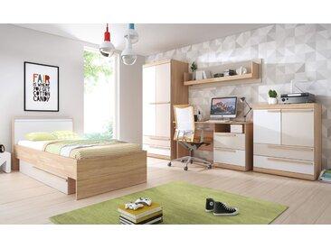 Jugendzimmer Komplett - Set A Hassine, 5-teilig, Farbe: Buche / Weiß / Champagne