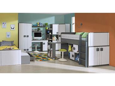 Jugendzimmer Komplett - Set J Elias, 9-teilig, Farbe: Weiß / Grau