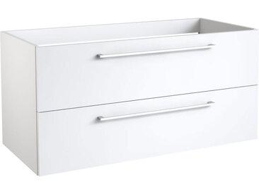 Waschtischunterschrank Pune 14 mit Siphonausschnitt, Farbe: Weiß glänzend – 50 x 99 x 38 cm (H x B x T)