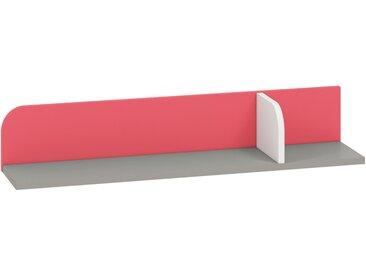 Kinderzimmer - Hängeregal / Wandregal Renton 15, Farbe: Platingrau / Weiß / Himbeerrot - Abmessungen: 15 x 92 x 20 cm (H x B x T)
