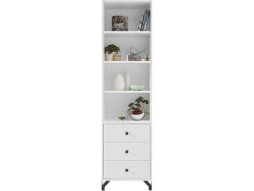 Regal Tellin 04, Farbe: Weiß / Weiß Hochglanz - Abmessungen: 190 x 50 x 40 cm (H x B x T)