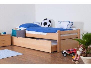 Kinderbett / Jugendbett Easy Premium Line K1/1h inkl. 2. Liegeplatz und 2 Abdeckblenden, 90 x 200 cm Buche Vollholz massiv Natur