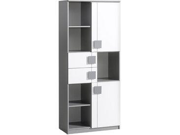 Jugendzimmer - Schrank Elias 02, Farbe: Weiß / Grau - Abmessungen: 187 x 80 x 40 cm (H x B x T)