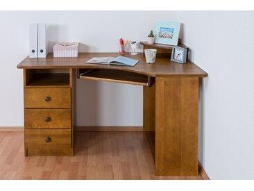 Schreibtisch Kiefer massiv Vollholz Eichefarben Rustikal Junco 185 - Abmessungen: 74 x 138 x 83 cm (H x B x T)