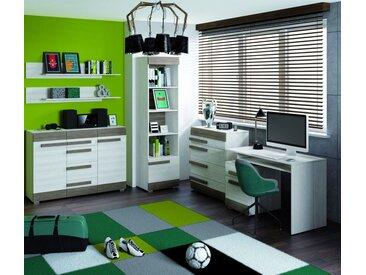 Jugendzimmer Set F Knoxville, 6-teilig, Farbe: Kiefer Weiß / Grau