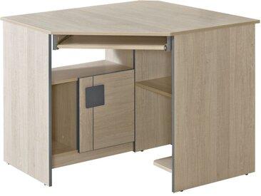 Jugendzimmer - Schreibtisch Elias 11, Farbe: Hellbraun / Grau - Abmessungen: 78 x 97 x 97 cm (H x B x T)