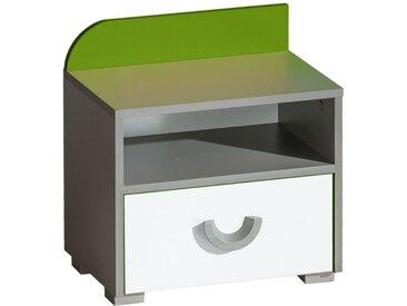 Jugendzimmer - Nachtkästchen Klemens 12, Farbe: Grün / Weiß / Grau - Abmessungen: 47 x 45 x 31 cm (H x B x T)