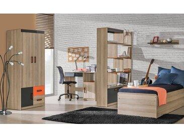 Jugendzimmer Komplett - Set E Marcel, 5-teilig, Farbe: Esche Orange / Grau / Braun