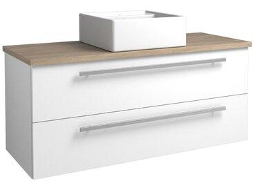 Waschtischunterschrank Bidar 98, Farbe: Weiß glänzend / Eiche Grau – 50 x 121 x 47 cm (H x B x T)