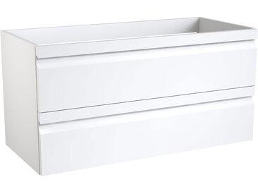 Waschtischunterschrank Bikaner 05 mit Siphonausschnitt, Farbe: Weiß glänzend – 50 x 99 x 45 cm (H x B x T)