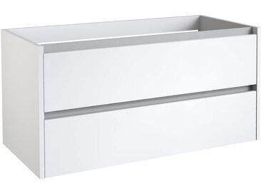 Waschtischunterschrank Kolkata 22 mit Siphonausschnitt, Farbe: Weiß glänzend – 50 x 100 x 46 cm (H x B x T)