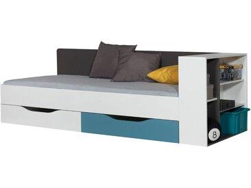 Kinderbett / Jugendbett Ohey 12, Farbe: Grau / Weiß / Blau - 90 x 200 cm (B x L)