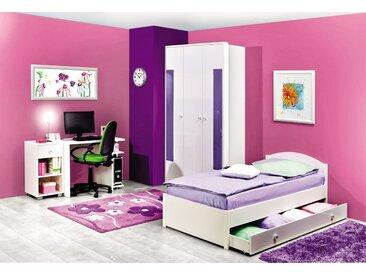 Jugendzimmer Komplett - Set X Gabriel, 5-teilig, Farbe: Weiß / Lila
