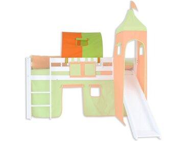 1er Tunnel zu Hoch- und Etagenbetten - Farbe:Grün/Orange