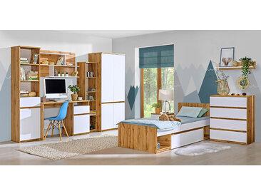 Jugendzimmer Komplett - Set A Alard, 9-teilig, Farbe: Eiche / Weiß