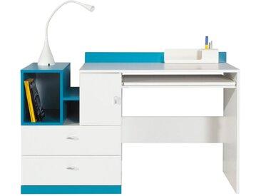 Jugendzimmer - Schreibtisch Geel 11, Weiß / Türkis - Abmessungen: 83 x 130 x 55 cm (H x B x T)