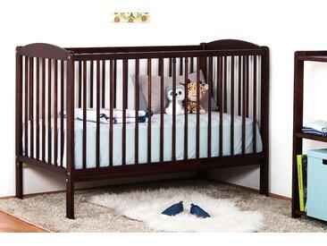 Gitterbett / Kinderbett Kiefer massiv Vollholz Walnussfarben 103, inkl. Lattenrost - 60 x 120 cm (B x L)