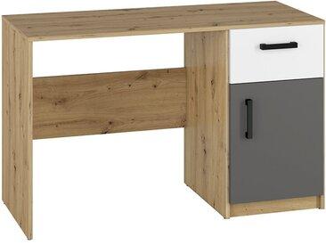 Jugendzimmer - Schreibtisch Sallingsund 08, Farbe: Eiche / Weiß / Anthrazit - Abmessungen: 76 x 120 x 51 cm (H x B x T), mit 1 Tür, 1 Schublade und 2 Fächern