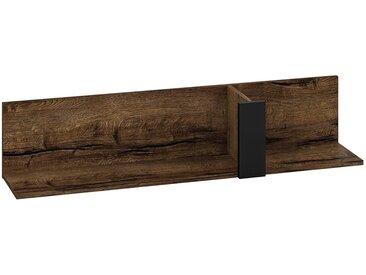 Hängeregal / Wandregal Kouvola 10, Farbe: Eiche dunkel / Schwarz - Abmessungen: 25 x 120 x 24 cm (H x B x T)